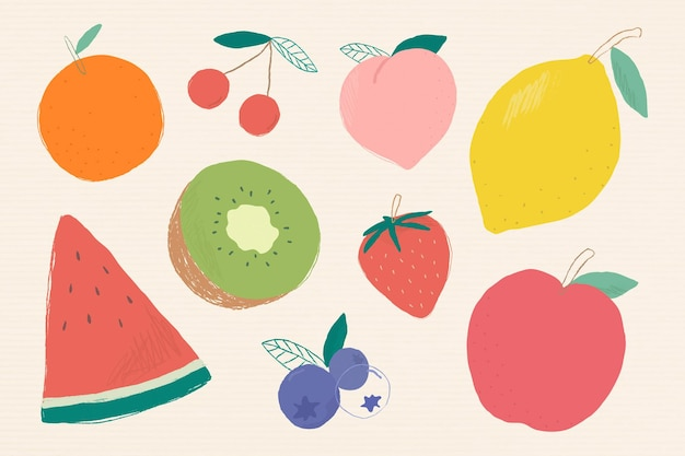 Colorful mixed fruit illustration set