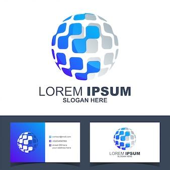 Colorful modern circle technology tech logo vector