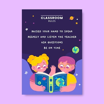 Colorful modern classroom rules education poster