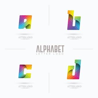 Colorful modern curvy origami branding abcd logo