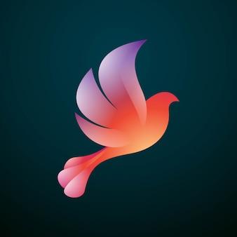 Colorful modern flying pigeon bird logo