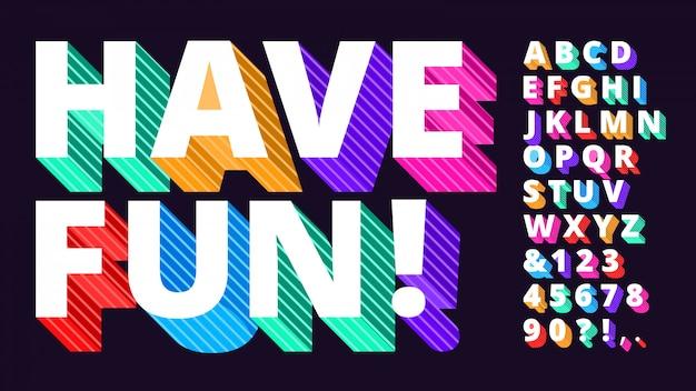 Красочный современный шрифт. полосатый 3d алфавит, смешные буквы типа и художественные яркие буквы векторная иллюстрация набор