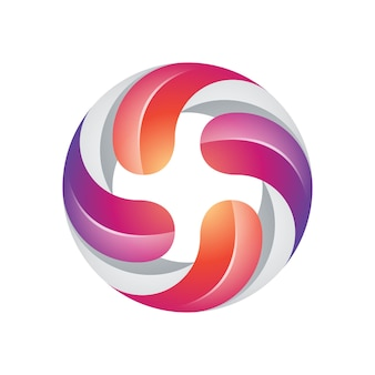 Colorful modern four twisted logo