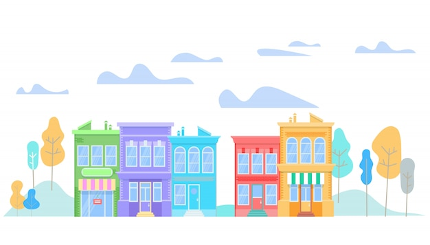 Colorful modern friendly buildings stand in raw.