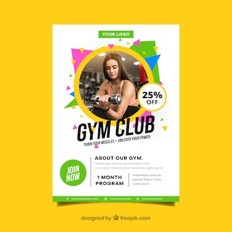 Colorful modern gym cover template