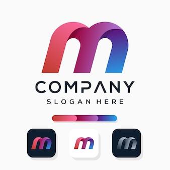 Красочный современный дизайн логотипа буква m