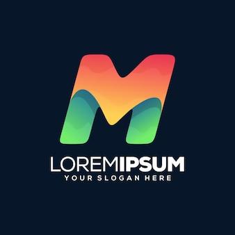 Красочный современный шаблон логотипа буква m
