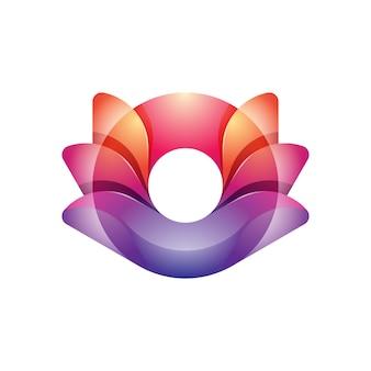 Colorful modern lotus yoga logo