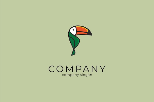 Colorful modern minimalist toucan vector icon logo template