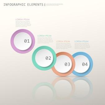 다채로운 현대 종이 원 infographic 요소 템플릿