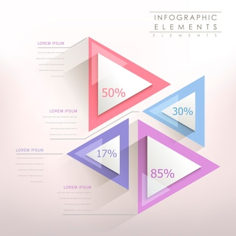 Colorful modern paper triangle abstract infographic elements