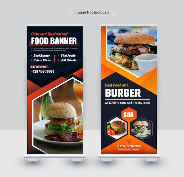 Colorful modern roll up stand banner design template for restaurant and food business