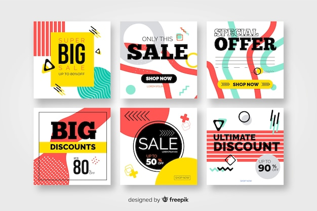 Colorful modern sales banners for social media