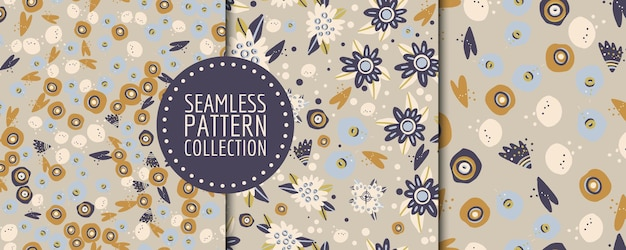 Colorful modern set of seamless patterns with abstract shapes