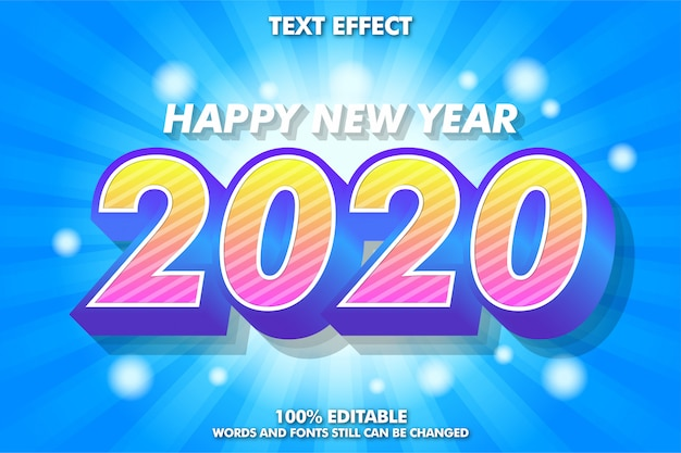 Colorful modern text style for new year banner