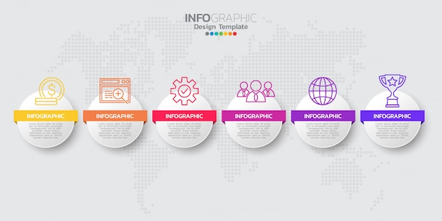 Colorful modern timeline infographic template with icons