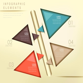 Colorful modern triangle abstract flow chart infographic elements