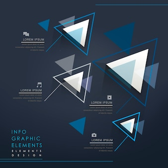 Colorful modern triangle abstract infographic elements in blue
