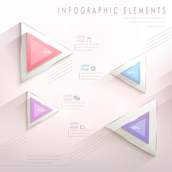 Colorful modern triangle abstract infographic elements in pink