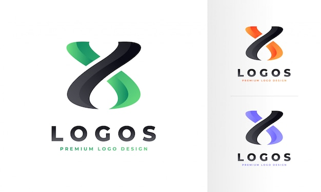Colorful modern wavy x letter logo design template