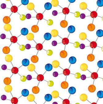 흰색 배경 벡터 일러스트 레이 션을 통해 다채로운 분자