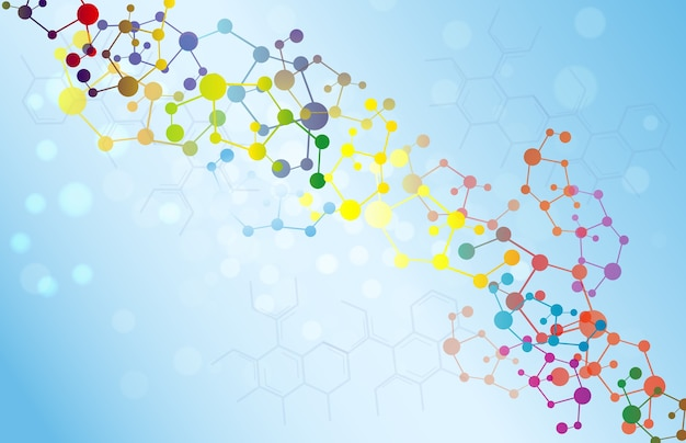 Colorful molecule illustration background