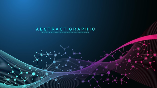 カラフルな分子の背景。抽象的な構造、科学または医学的背景