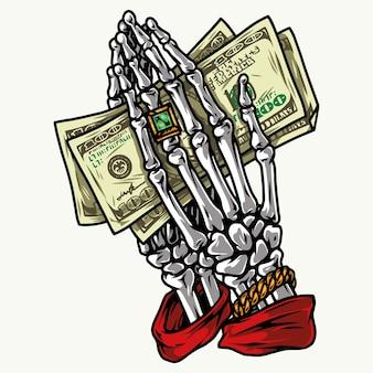 分離されたドル紙幣を保持しているリングと金のブレスレットとスケルトンの手でカラフルなお金