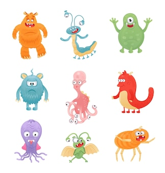 Colorful monster vector set yeti character and face in cartoon style
