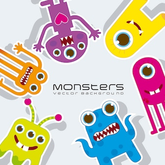 Colorful monsters over gray background vector illustration