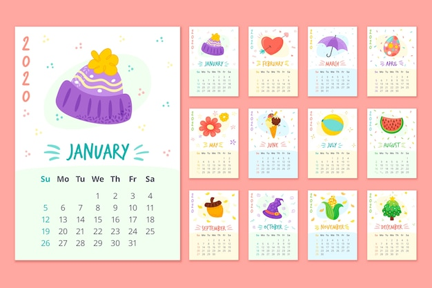 Colorful monthly schedule calendar