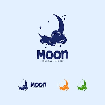 Colorful moon logo design template