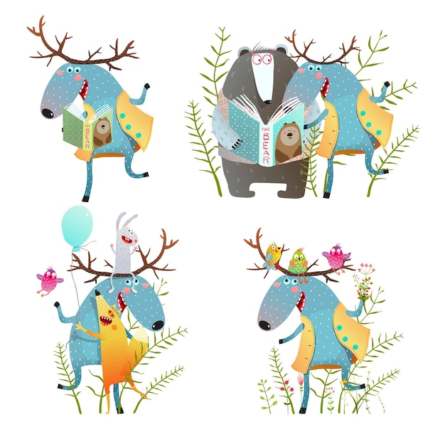 Colorful moose bear fox cartoon for kids set.