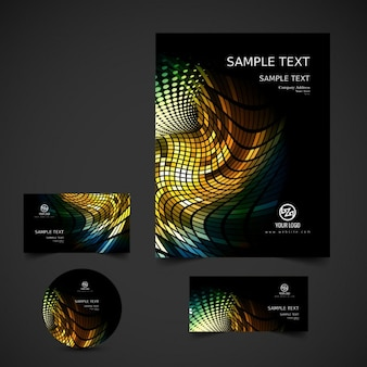 Colorful mosaic business stationery