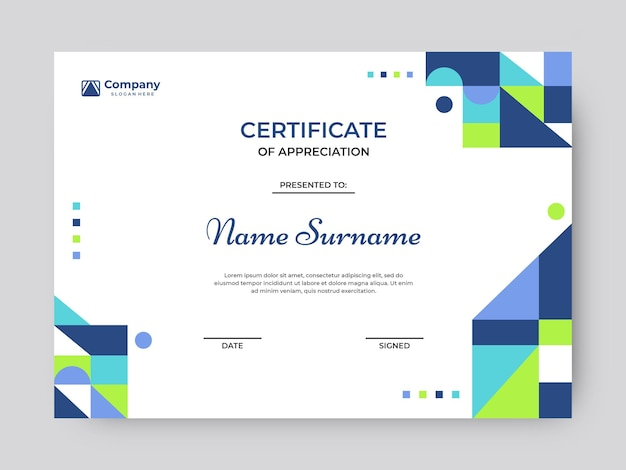 Colorful mosaic certificate template vector design