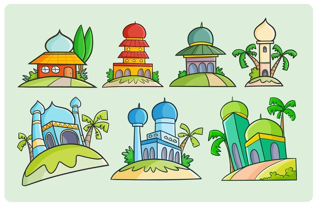 Красочный дизайн мечети, рисунок в стиле простого каракули