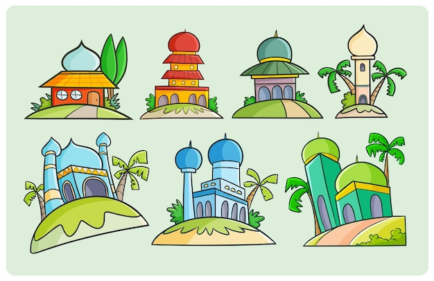 Colorful mosque designs drawing in simple doodle style