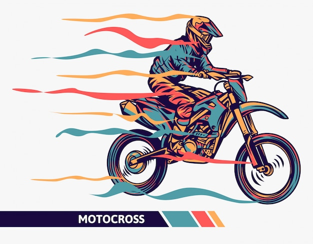 Colorful motocross illustration with motion liness