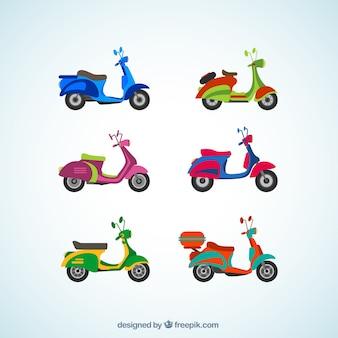 Красочные мотоциклы Premium векторы