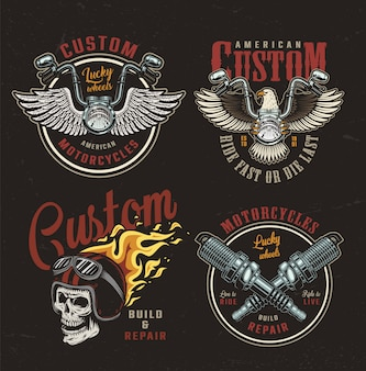 Colorful motorcycle emblems set
