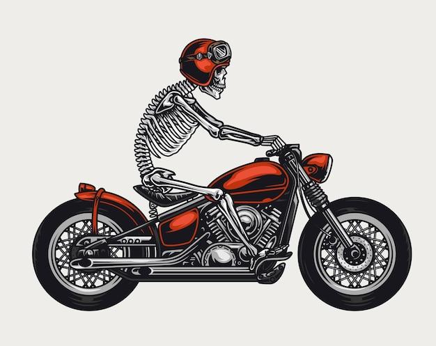 分離されたバイクに乗ってバイカーヘルメットとゴーグルのスケルトンとカラフルなオートバイのヴィンテージコンセプト
