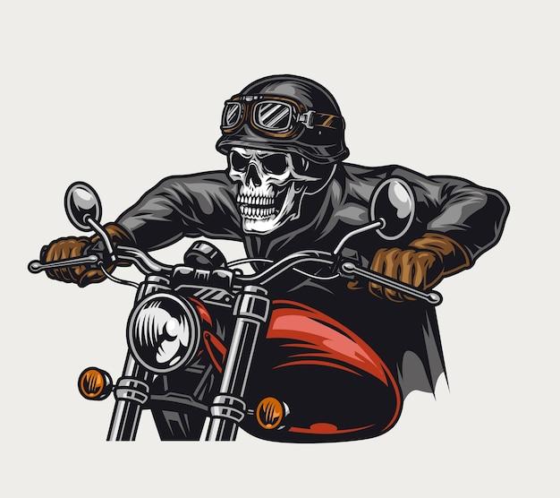 ヘルメットとゴーグルに乗ってバイクの孤立したイラストの頭蓋骨の頭のバイカーとカラフルなオートバイのビンテージコンセプト