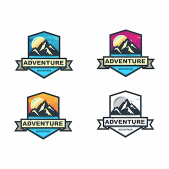 Colorful mountain adventure badge set