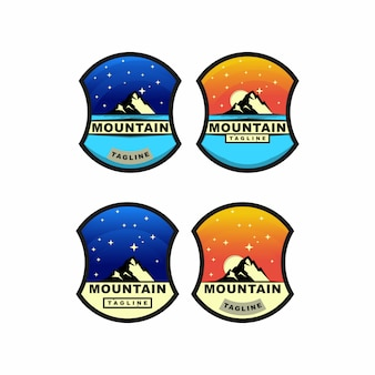 Colorful mountain adventure and stars badge logo design set