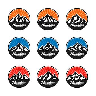 Colorful mountain round logo design set