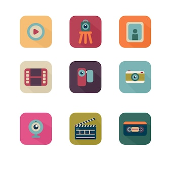 Colorful multimedia icon pack