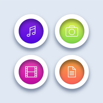 Colorful multimedia icons