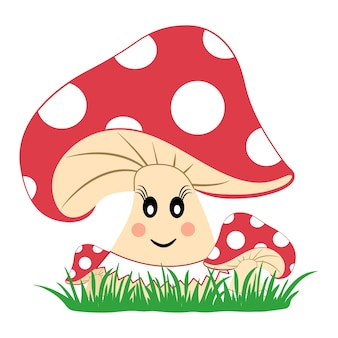 Colorful mushrooms in the grass. mushroom with emotion. smiling face.  illustration