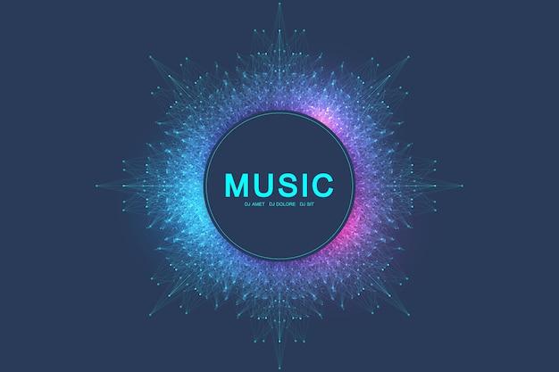Красочная музыка и танцевальная вечеринка баннер или плакат. фон с фрактальной сеткой, радиальной звуковой волной, эквалайзером. иллюстрация.