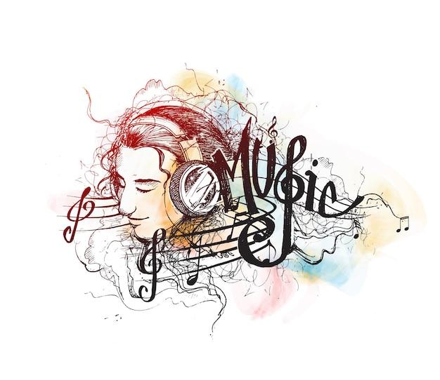 カラフルな音楽の背景ベクトルの女の子は、白で隔離の音楽漫画イラストを聴きます